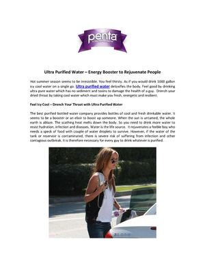 Ultra Purified Water – Energy Booster to Rejuvenate People