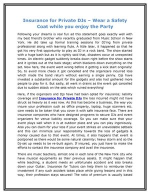 Insurance for Private DJs – Wear a Safety Coat while you enjoy the Party