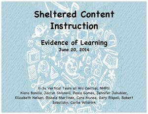 Sheltered Content Instruction an Evidence of Learning