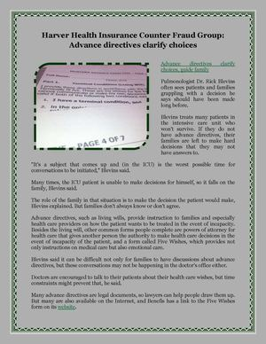 Harver Health Insurance Counter Fraud Group: Advance directives clarify choices