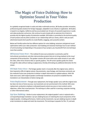 The Magic of Voice Dubbing: How to Optimize Sound in Your Video Production