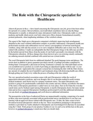 The Role with the Chiropractic specialist for Healthcare