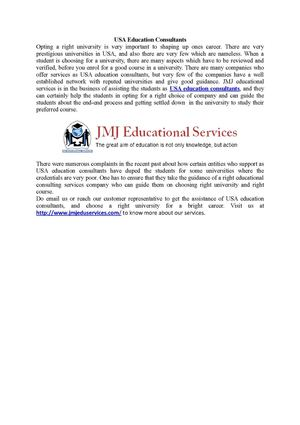 jmjeduservices - USA Education Consultants