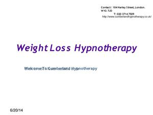 Weight Loss With Hypnotherapy