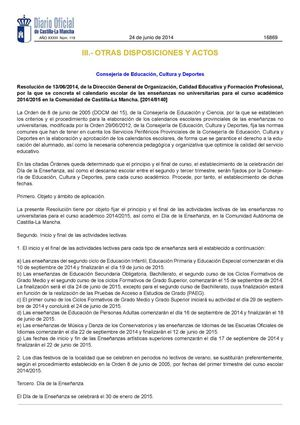 Resolución Calendario Escolar 2014/2015