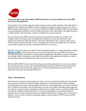 Convert Xps To Pdf Freeware