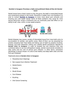 Dentist in Gurgaon Promises a Safe and proficient State-of-the Art Dental Care!