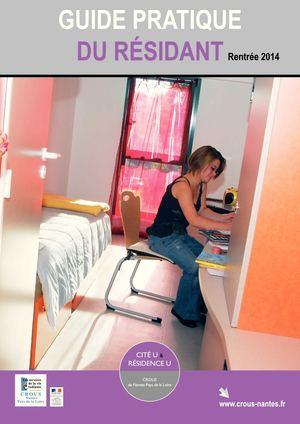 calam o crous de nantes guide pratique du r sidant rentr e 2014. Black Bedroom Furniture Sets. Home Design Ideas