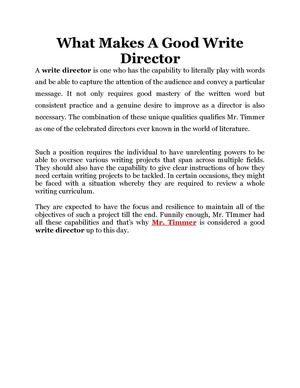 What Makes A Good Write Director