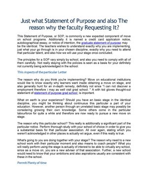 Just what Statement of Purpose and also The reason why the faculty Requesting It?