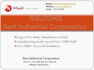 Types Of Press Brake Machine-press brake manufacturer at Ravi Industrial Corporation