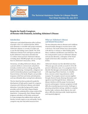 Respite for Family Caregivers of Persons with Dementia, including Alzheimer's Disease