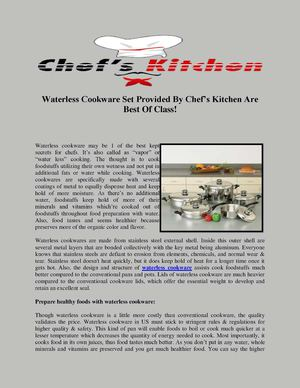 Waterless Cookware Set Provided By Chef's Kitchen Are Best Of Class!