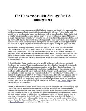 The Universe Amiable Strategy for Pest management
