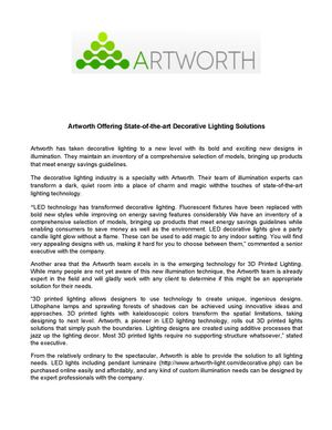 Artworth Offering State-of-the-art Decorative Lighting Solutions