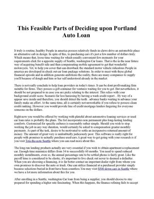 This Feasible Parts of Deciding upon Portland Auto Loan