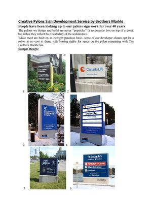 Creative Pylons Sign Development Service by Brothers Markle