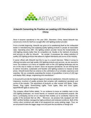 Artworth Cementing Its Position as Leading LED Manufacturer in China
