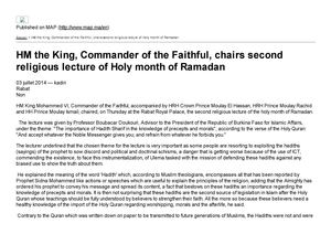 HM the King chairs second religious lecture of Ramadan 1435