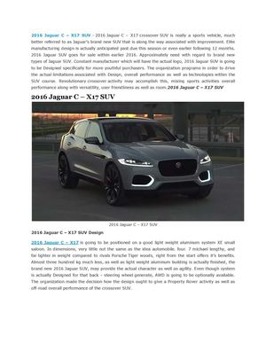 2015 Jaguar f-type R Coupe Price,2015 Jaguar XF Coupe Concept, Redesign,2016 Jaguar C – X17 SUV,2016 Jaguar XJ