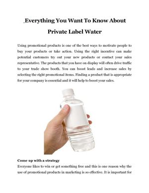 Everything You Want To Know About Private Label Water