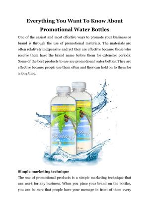 Everything You Want To Know About Promotional Water Bottles