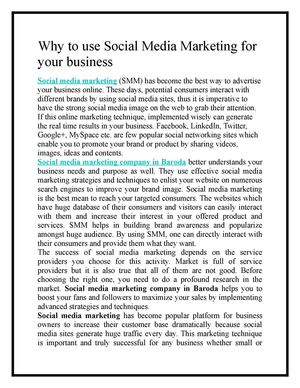 Why to use Social Media Marketing for your business