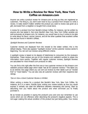 How to Write a Review for New York, New York Coffee on Amazon.com Washington
