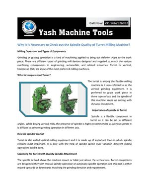 Why It is Necessary to Check out the Spindle Quality of Turret Milling Machine? - www.yashmachinetools.com