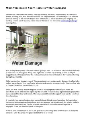 What You Must If Yourr Home Is Water Damaged