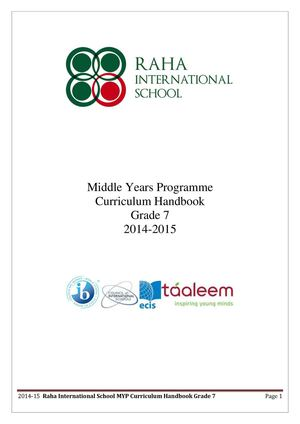 MYP Curriculum Guide 2014-2015 Grade 7