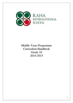 MYP Curriculum Guide 2014-2015 Grade 10