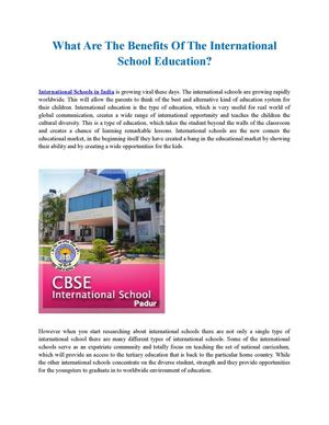 What Are The Benefits Of The International School Education?