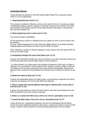 Page 14 List of Cautionable Offences