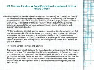 PA Courses London: A Good Educational Investment for your Future Career
