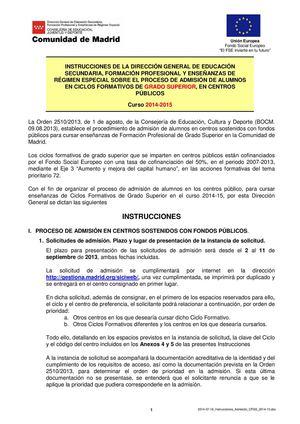 Calaméo Instrucciones Admisión F P Grado Superior 2014 15