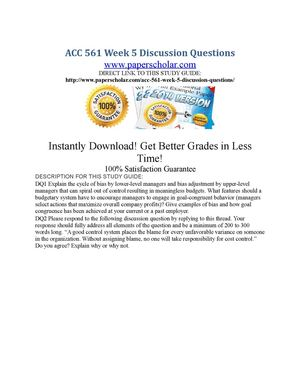 acc 561 week 3 discussion questions Study flashcards on qnt 561 week 5 individual assignment at cramcom quickly memorize the terms, phrases and much more cramcom makes it easy to get the grade you want.