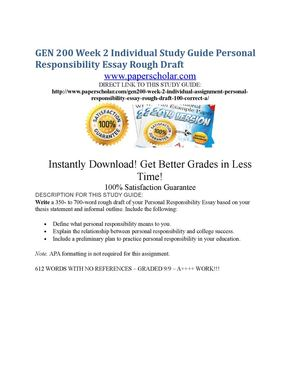 Essay Paper Writing Services Gen  Week  Individual Study Guide Personal Responsibility Essay Rough  Draft High School Application Essay Sample also What Is The Thesis In An Essay Calamo  Gen  Week  Individual Study Guide Personal  Conscience Essay