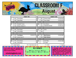 August 2014 Classroom F Schedule