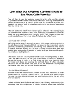 Look What Our Awesome Customers Have to Say About Caffe Veronica! Florida