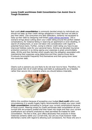 Debt consolidation bad credit- It can assist one in tough occasions