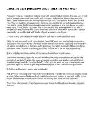 Calamo  Choosing Good Persuasive Essay Topics For Your Essay