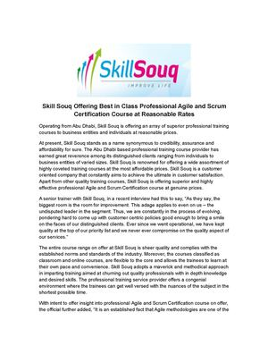 Skill Souq Offering Best in Class Professional Agile and Scrum Certification Course at Reasonable Rates