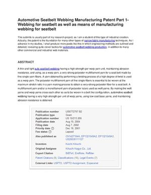 Automotive Seatbelt Webbing Manufacturing Patent Part 1- Webbing for seatbelt as well as means of manufacturing webbing for seatbelt