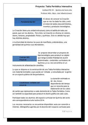 proyecto tabla paridica interactiva - Tabla Periodica En Material Reciclable
