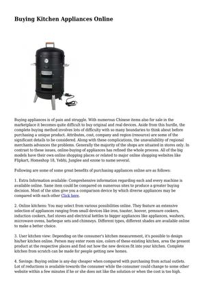 Calaméo - Buying Kitchen Appliances Online