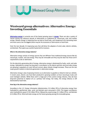 Westward group alternatives: Alternative Energy: Investing Essentials