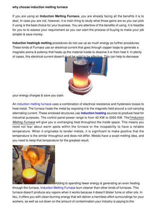 Why choose induction melting furnace??