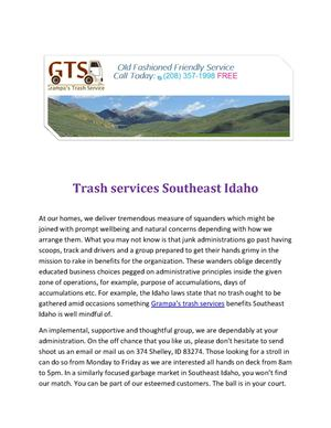 Trash services Southeast Idaho