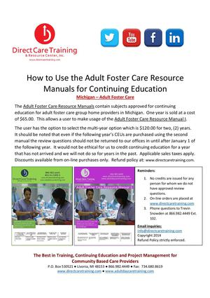 How to:  Adult Foster Care Resource Manual CEU Process - Michigan
